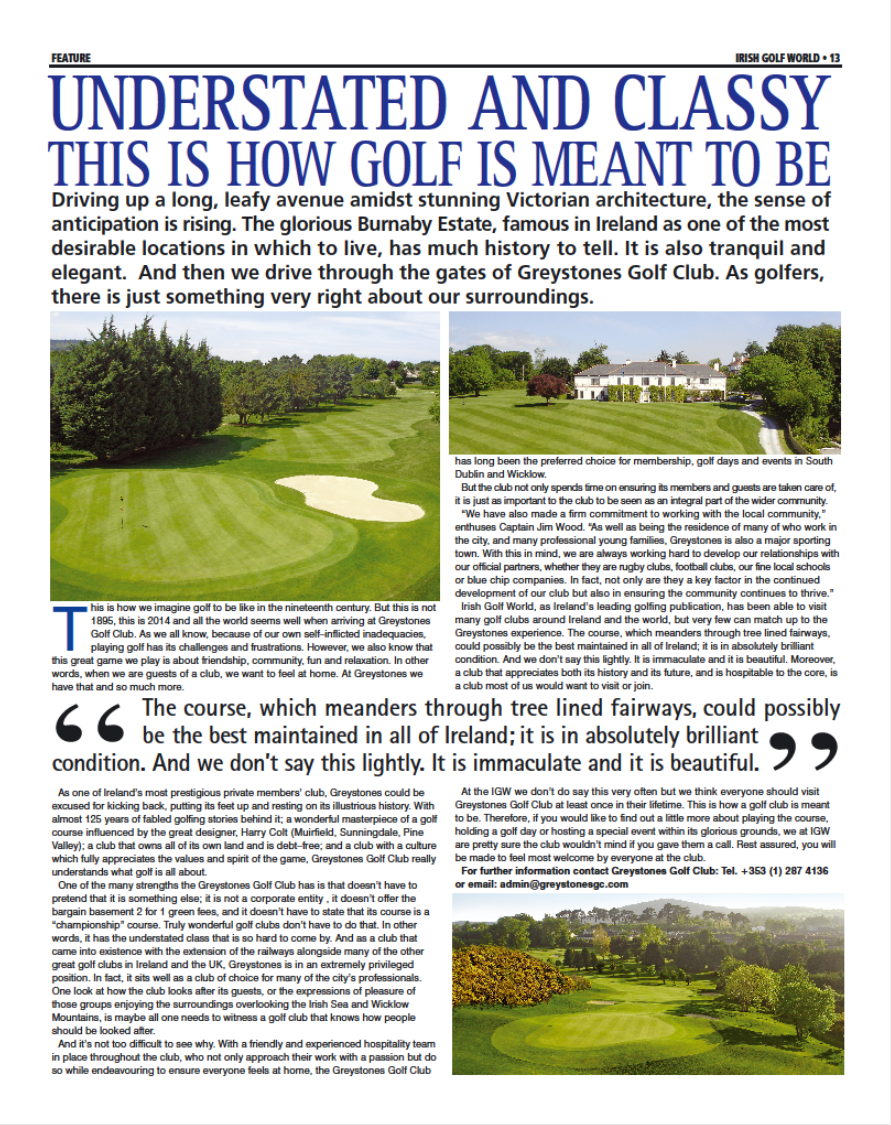 IGW Greystones GC Article